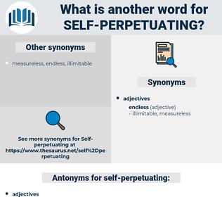 self perpetuating, synonym self perpetuating, another word for self perpetuating, words like self perpetuating, thesaurus self perpetuating