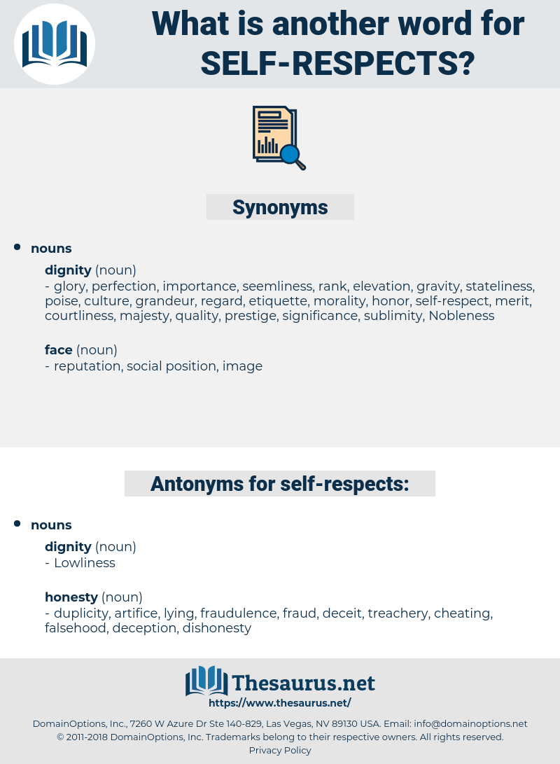 self-respects, synonym self-respects, another word for self-respects, words like self-respects, thesaurus self-respects