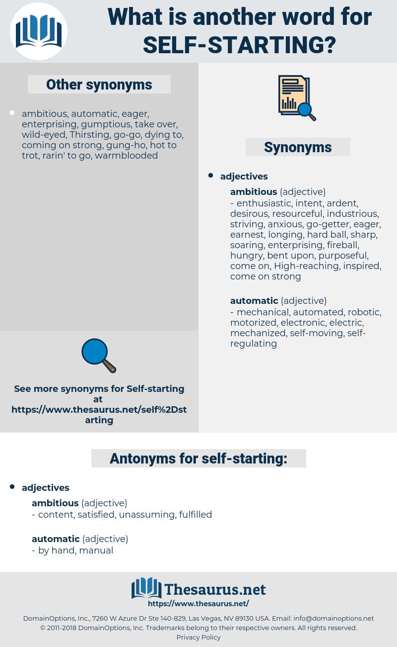 self-starting, synonym self-starting, another word for self-starting, words like self-starting, thesaurus self-starting
