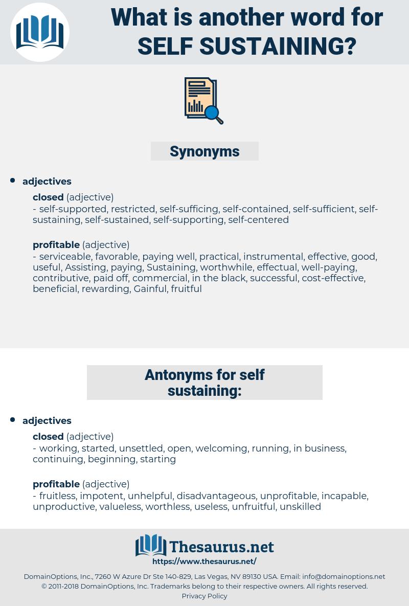 self-sustaining, synonym self-sustaining, another word for self-sustaining, words like self-sustaining, thesaurus self-sustaining