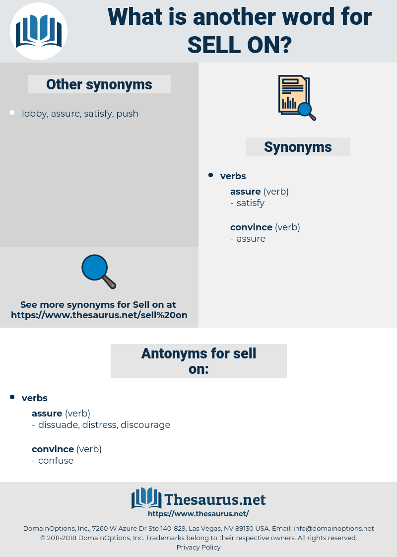 sell on, synonym sell on, another word for sell on, words like sell on, thesaurus sell on