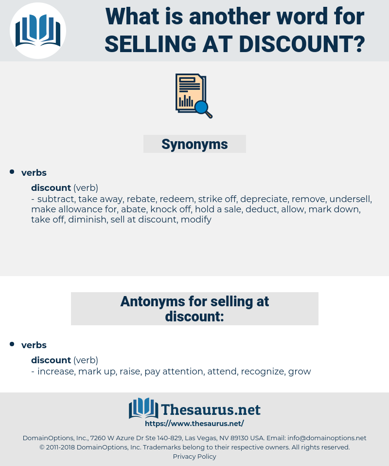selling at discount, synonym selling at discount, another word for selling at discount, words like selling at discount, thesaurus selling at discount