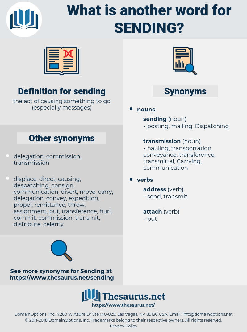 sending, synonym sending, another word for sending, words like sending, thesaurus sending