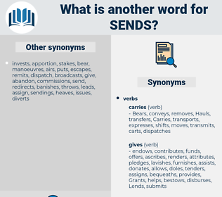 sends, synonym sends, another word for sends, words like sends, thesaurus sends