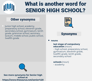 senior high school, synonym senior high school, another word for senior high school, words like senior high school, thesaurus senior high school
