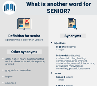 senior, synonym senior, another word for senior, words like senior, thesaurus senior