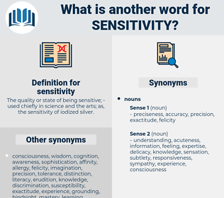 sensitivity, synonym sensitivity, another word for sensitivity, words like sensitivity, thesaurus sensitivity