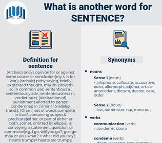 sentence, synonym sentence, another word for sentence, words like sentence, thesaurus sentence