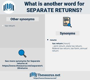 separate returns, synonym separate returns, another word for separate returns, words like separate returns, thesaurus separate returns