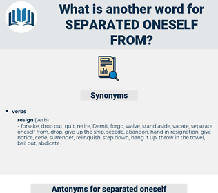 separated oneself from, synonym separated oneself from, another word for separated oneself from, words like separated oneself from, thesaurus separated oneself from