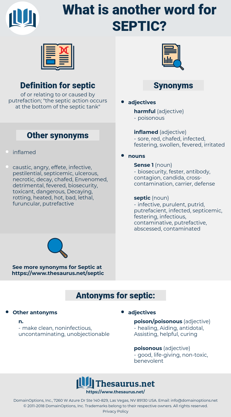 septic, synonym septic, another word for septic, words like septic, thesaurus septic