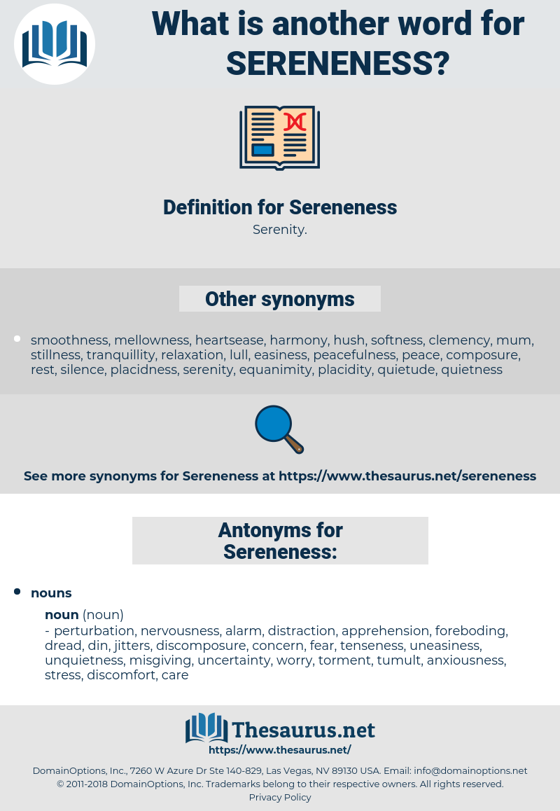 Sereneness, synonym Sereneness, another word for Sereneness, words like Sereneness, thesaurus Sereneness