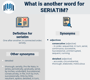 seriatim, synonym seriatim, another word for seriatim, words like seriatim, thesaurus seriatim