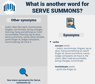 serve summons, synonym serve summons, another word for serve summons, words like serve summons, thesaurus serve summons