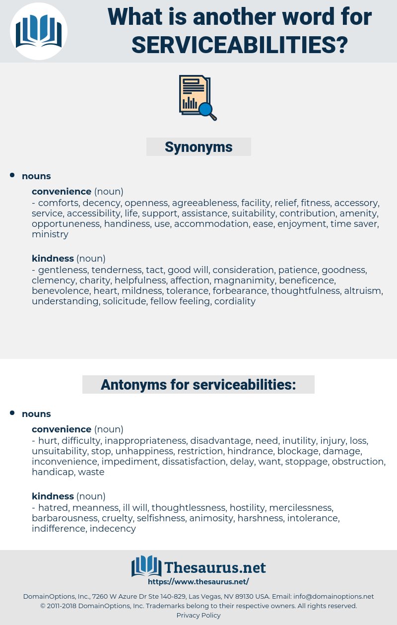 serviceabilities, synonym serviceabilities, another word for serviceabilities, words like serviceabilities, thesaurus serviceabilities
