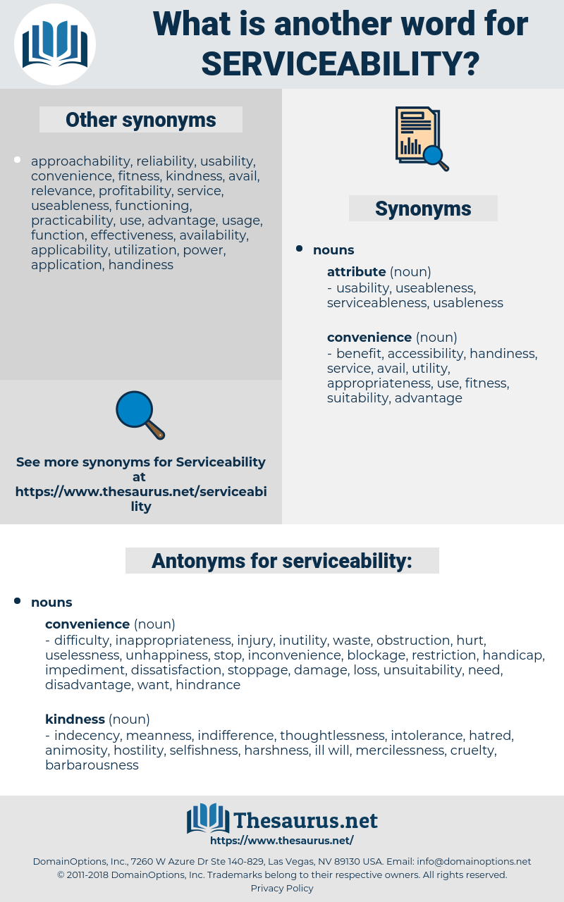 Synonyms for SERVICEABILITY, Antonyms for SERVICEABILITY - Thesaurus net