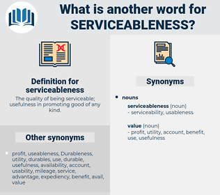 serviceableness, synonym serviceableness, another word for serviceableness, words like serviceableness, thesaurus serviceableness