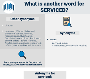 serviced, synonym serviced, another word for serviced, words like serviced, thesaurus serviced