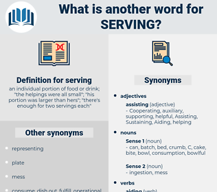 serving, synonym serving, another word for serving, words like serving, thesaurus serving