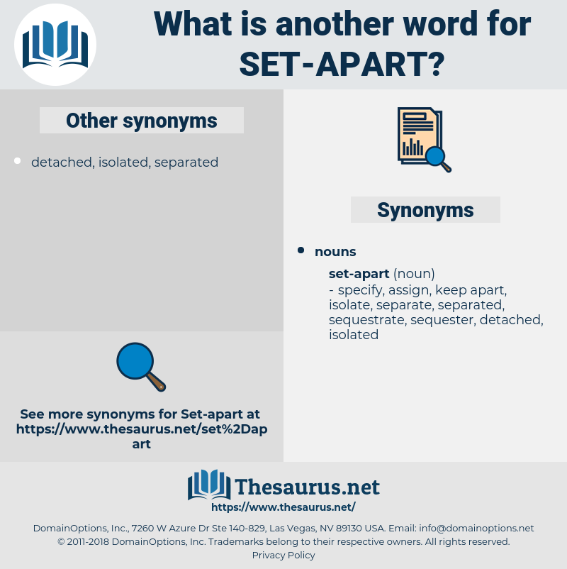 Synonyms for SET APART, Antonyms for SET APART - Thesaurus.net