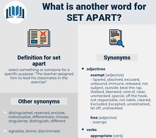 set apart, synonym set apart, another word for set apart, words like set apart, thesaurus set apart