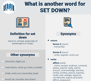 set down, synonym set down, another word for set down, words like set down, thesaurus set down