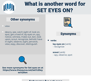 set eyes on, synonym set eyes on, another word for set eyes on, words like set eyes on, thesaurus set eyes on