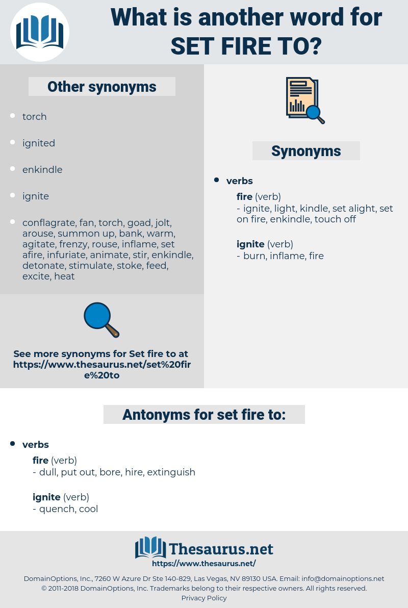 set fire to, synonym set fire to, another word for set fire to, words like set fire to, thesaurus set fire to
