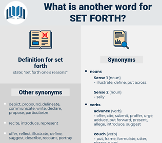 set forth, synonym set forth, another word for set forth, words like set forth, thesaurus set forth