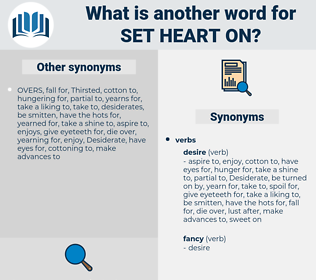 set heart on, synonym set heart on, another word for set heart on, words like set heart on, thesaurus set heart on