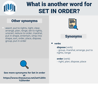 set in order, synonym set in order, another word for set in order, words like set in order, thesaurus set in order