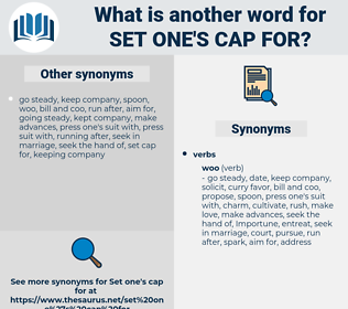 set one's cap for, synonym set one's cap for, another word for set one's cap for, words like set one's cap for, thesaurus set one's cap for