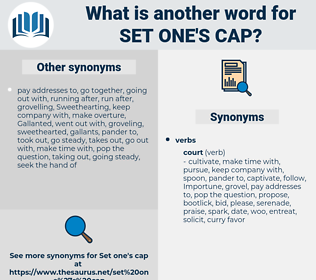 set one's cap, synonym set one's cap, another word for set one's cap, words like set one's cap, thesaurus set one's cap