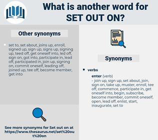 set out on, synonym set out on, another word for set out on, words like set out on, thesaurus set out on