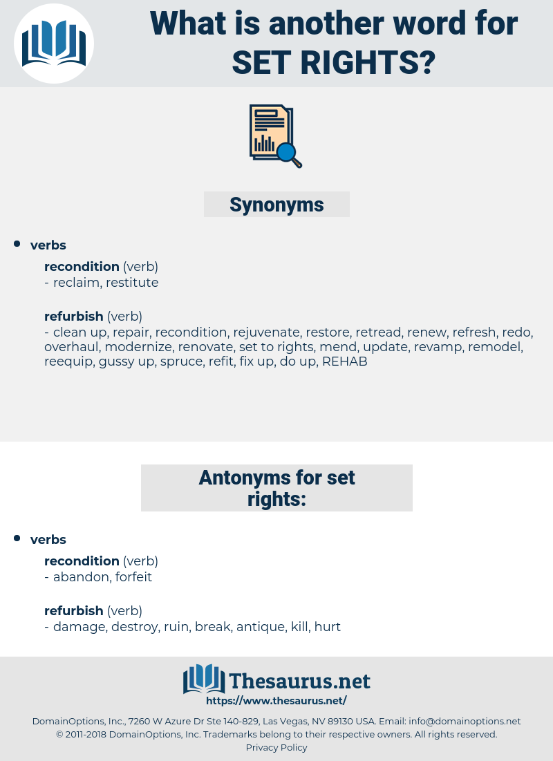 set rights, synonym set rights, another word for set rights, words like set rights, thesaurus set rights