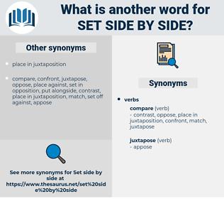 set side by side, synonym set side by side, another word for set side by side, words like set side by side, thesaurus set side by side