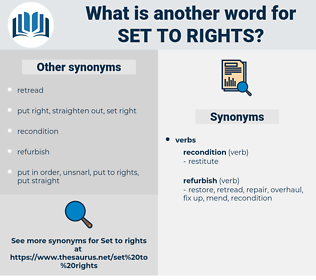 set to rights, synonym set to rights, another word for set to rights, words like set to rights, thesaurus set to rights