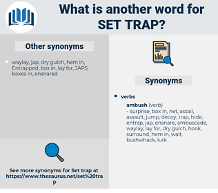 set trap, synonym set trap, another word for set trap, words like set trap, thesaurus set trap