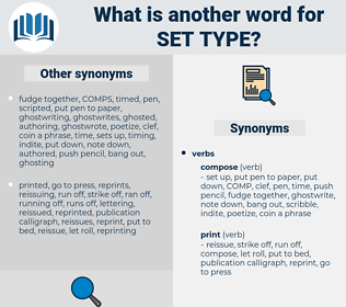 set type, synonym set type, another word for set type, words like set type, thesaurus set type