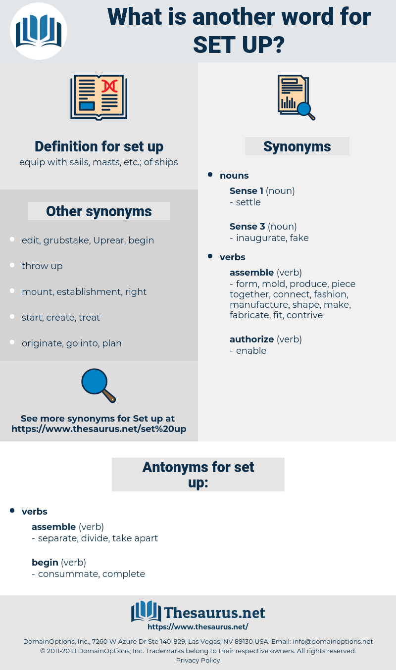 set up, synonym set up, another word for set up, words like set up, thesaurus set up