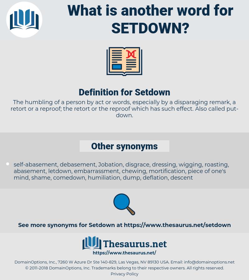 Setdown, synonym Setdown, another word for Setdown, words like Setdown, thesaurus Setdown