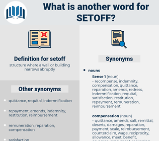 setoff, synonym setoff, another word for setoff, words like setoff, thesaurus setoff