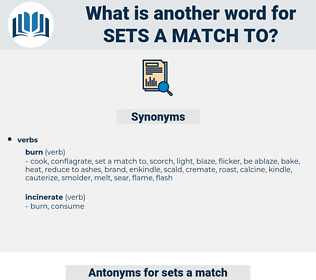 sets a match to, synonym sets a match to, another word for sets a match to, words like sets a match to, thesaurus sets a match to