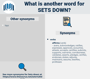 sets down, synonym sets down, another word for sets down, words like sets down, thesaurus sets down
