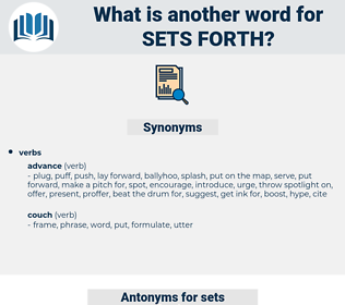 sets forth, synonym sets forth, another word for sets forth, words like sets forth, thesaurus sets forth