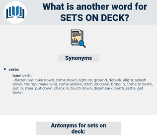 sets on deck, synonym sets on deck, another word for sets on deck, words like sets on deck, thesaurus sets on deck