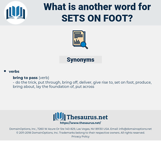 sets on foot, synonym sets on foot, another word for sets on foot, words like sets on foot, thesaurus sets on foot