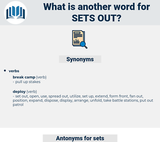 sets out, synonym sets out, another word for sets out, words like sets out, thesaurus sets out