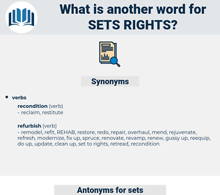 sets rights, synonym sets rights, another word for sets rights, words like sets rights, thesaurus sets rights