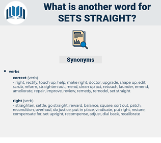 sets straight, synonym sets straight, another word for sets straight, words like sets straight, thesaurus sets straight